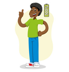 Mascot ben man person afro descent with 100 vector
