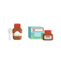 Medication bottles set jar ointment and cough vector