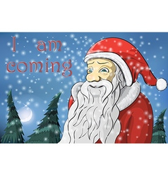 Merry Christmas moon snow Santa Claus Text I am vector