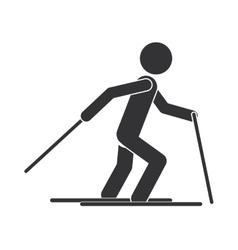 Monochrome silhouette with man ski over snow vector