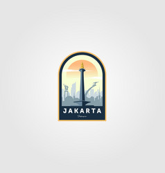Monument national jakarta logo symbol design vector