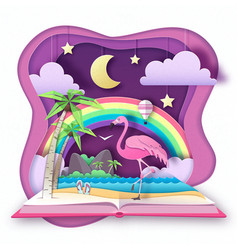 Open fairy tale book with flamingo vector