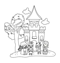 Outline scary castle with funny children costumed vector
