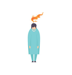 overworked exhausted doctor emotional burnout vector image