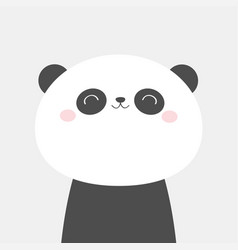 panda bear face head icon black and white kawaii vector image