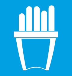 Portion of french fries icon white vector