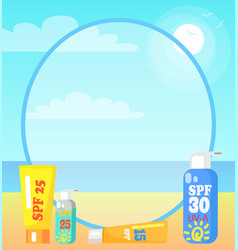 Poster showing seaside with sunscreen lotions vector