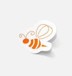 Realistic paper sticker bee vector