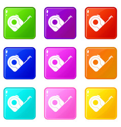 Roulette construction tool icons 9 set vector