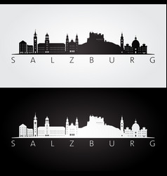 salzburg skyline and landmarks silhouette vector image