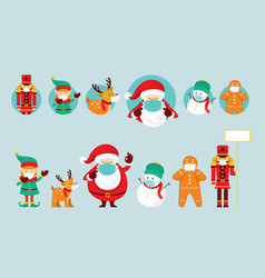 Santa claus and friends wearing face mask vector