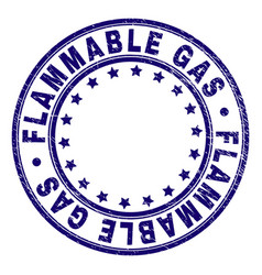 Scratched textured flammable gas round stamp seal vector