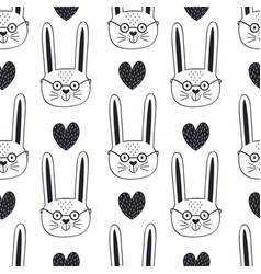 seamless pattern with hare and heart vector image