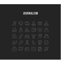 set flat line icons journalism vector image