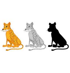 set of cheetah character vector image
