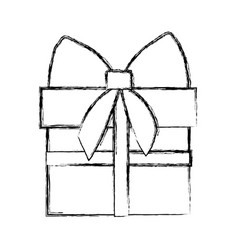 Silhouette blurred gift box with ribbon wrapping vector