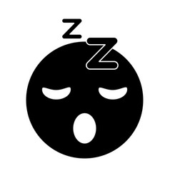 sleepy emoticon funny pictogram vector image