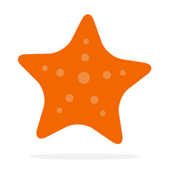 Starfish in orange color flat isolated vector