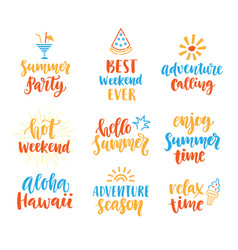Summer season cute brush lettering set vector