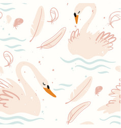 swans seamless pattern in pastel colors vector image