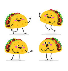 Taco cute fast food character set vector