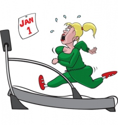 Treadmill woman vector