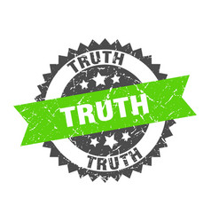Truth grunge stamp with green band truth vector
