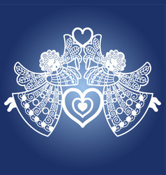 two angels with a trumpet and a heart template fo vector image
