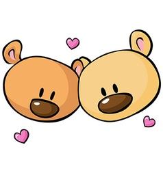 Two teddy bear heads vector image