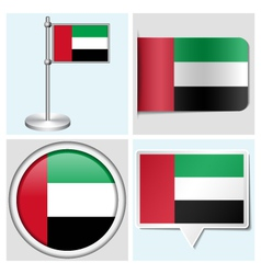 United Arab Emirates flag - sticker button label vector image vector image