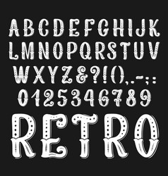 Vintage retro font letters and numbers vector