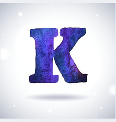 Watercolor letter K vector image