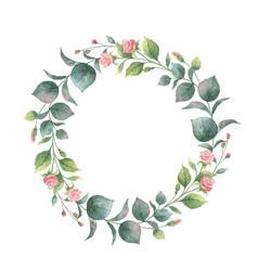 watercolor round wreath with eucalyptus vector image vector image