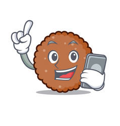 With phone chocolate biscuit character cartoon vector