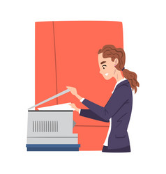 young woman copying and scanning documents in vector image