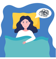 Young woman suffer from insomnia sleepy girl can vector