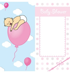 baby girl birth card vector image