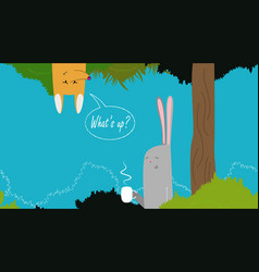 cute banner with rabbit vector image vector image