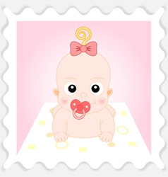 Sweet Cartoon Baby Girl vector image vector image