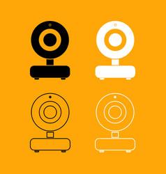 web camera black and white set icon vector image vector image