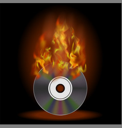 burning compact disc with fire and flame vector image vector image