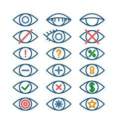 colored eye icons for different actions set of vector image vector image