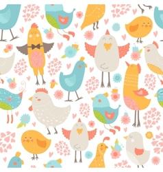 Cute birds seamless background vector image