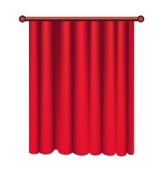 long silk red theater curtain hangs on cornice vector image