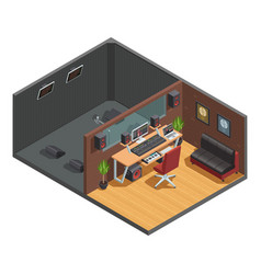 soundbox interior isometric composition vector image