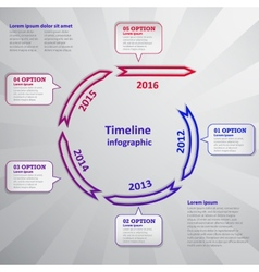 Timeline infographic with arrow and cloud vector image