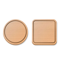 wooden brown cutting board set isolated on vector image