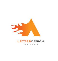a letter flame logo design fire logo lettering vector image vector image