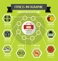 fitness infographic concept flat style vector image