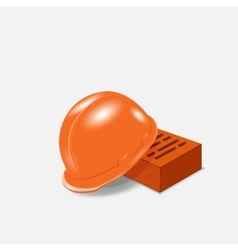 helmet and bricks at a construction site vector image